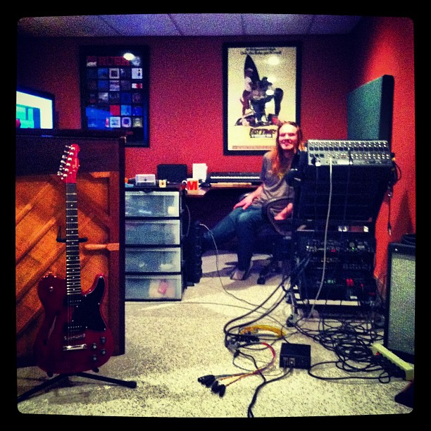 Hanging out with Kyle from HannahKin Studio while recording my new album.